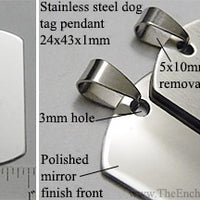 Arched Dog Tag Stainless Steel Flat Dog Tag Style Pendant