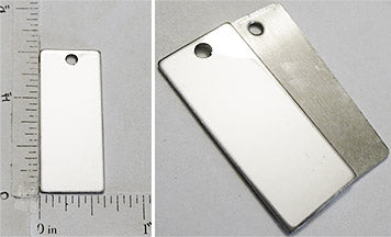 Long Rectangle Stainless Steel Flat Dog Tag Style Pendant