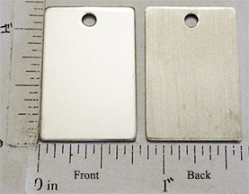 Short Rectangle Stainless Steel Flat Dog Tag Style Pendant
