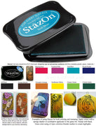 Stazon ink pad for domino rubber stamping waterproof inks solvent tile