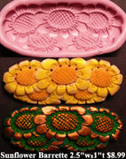 Flexible Push Mold Sunflower Barrette Carving