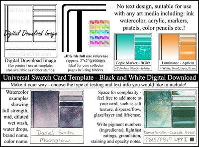 Digital download watercolor swatch card template universal color pencil, ink, marker, pastel color chart