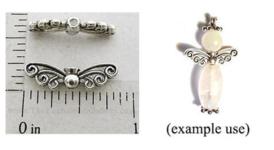 Decorative Swirl Mini Angel Wings Center Connected Bead (6 Pack)