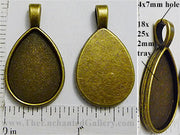 18x25x2mm Teardrop Smooth Back with Bail Pendant Tray Bronzetone
