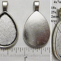 18x25x2mm Teardrop Smooth Back with Bail Pendant Tray Silvertone