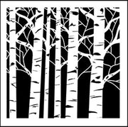 6x6 Inch Stencil Aspen Trees By The Crafters Workshop