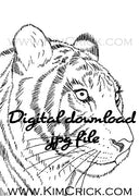 Digital File - Tiger Animal Pen Ink Line Drawing Black White Clip Art Digi Stamp Printable Download