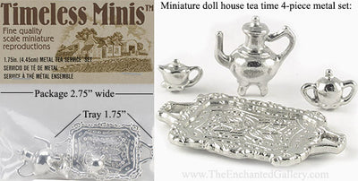 Miniature Doll House Tea Time Service 4 Piece Metal Set