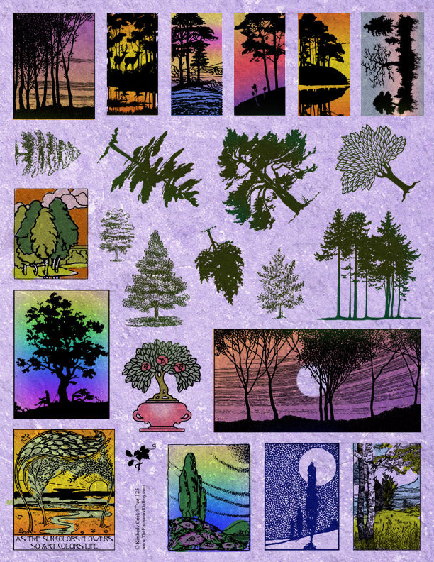 Unmounted Rubber Stamp Set Nature Trees #Tree-125