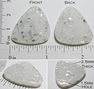 Asymmetric Triangle Translucent Flat Acrylic Charm with Silver Glitter Bead DIY Jewelry (6 pieces)