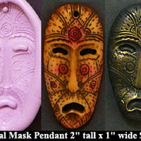 Flexible Push Mold Tribal Mask Face Pendant