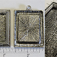 22x30mm Rectangle Floral Wheat Picture Frame Pendant Tray Antiqued Silvertone