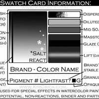 Grayscale swatch card information panel pigment database rubber stamp