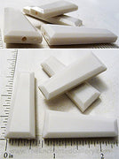 White Acrylic Beveled Trapezoid Beads 40x16x7mm