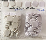 "BULK SALE - Small 20mm x 20mm x 3mm Curved Square Beads for DIY About 50 pieces 3""x4"" bag (Choose Off-White or Regular White)"