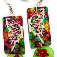 Butterfly handmade jewelry earrings frosted acrylic flower beads leaf charms hook wire