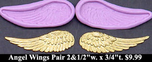 Flexible Push Mold Detailed Long Angel Wings Pair