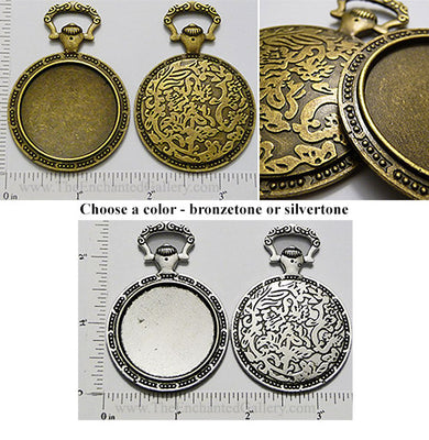 Floral Backed Pocket Watch Style 35mm Round Tray (Select A Color)