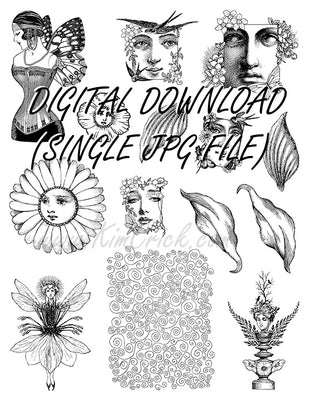 Digital File - Full Sheet Fairy Collage Paper Doll Faces Wings Printable Digi Stamp Set Feys-117