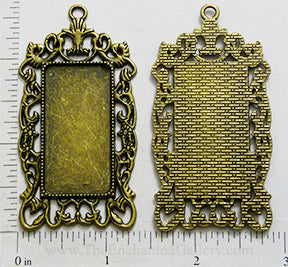 19x38x1.5mm Rectangle with Ornate Border Pendant Tray Bronzetone