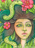 Eve Medusa Goddess watercolor painting kimberly crick art glazing MIYA half pan 18 color set review