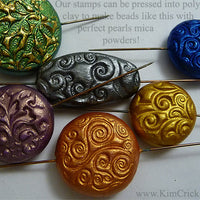 Polymer clay focal beads handmade with spiral stamp texture sheet pearl ex perfect pearls mica