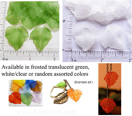 Frosted Translucent Acrylic Grape Leaf Beads Pack of 20 (Select a Color)