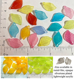 Frosted Translucent Acrylic Leaf Beads with 1mm Hole 20 Pack (Select a Color)