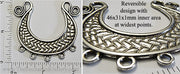 Antiqued Silvertone Greek Crescent Boat Weave Pendant Tray with Hanger Loops