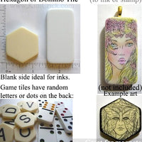 Hexagon or domino game tile blank resin shape for rubber stamp alcohol ink jewelry making magnets craft project