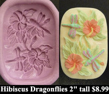 Flexible Push Mold Hibiscus Dragonflies Panel