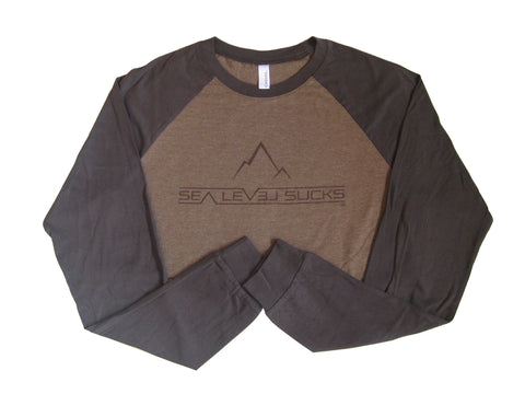 """The High Wind"" Men's Long Sleeve Baseball Tee-Brown & Chocolate **MED ONLY**"