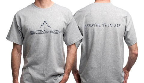 """The Clean Breather"" Men's Short Sleeve Tee-Sport Grey & Navy Blue *Small Only*"