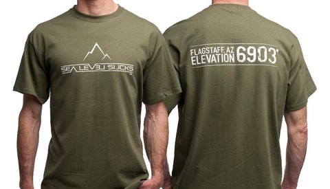 """The Flagstaff"" Men's Short Sleeve Tee-Military Green & White **SMALL ONLY**"
