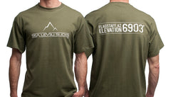 """The Flagstaff"" Men's Short Sleeve Tee-Military Green & White"