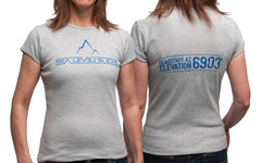 """The Flagstaff"" Women's Short Sleeve Tee-Heather Gray & Blue"