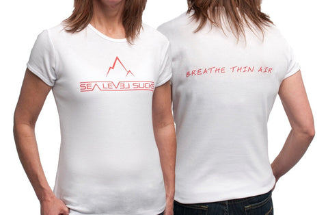 """The Clean Breather"" Women's Short Sleeve Tee-White & Red"