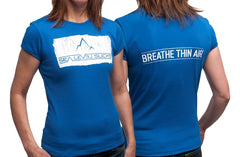 """The Breather"" Women's Short Sleeve Tee-Royal Blue & Whitewash"