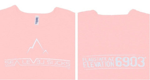 """The Flagstaff"" Women's Short Sleeve Tee-Pink & White"