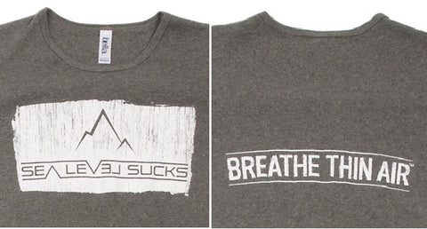 """The Breather"" Women's Short Sleeve Tee-Deep Heather & Whitewash"