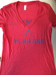 """The Breather"" W's SS V-Neck Tee-Heather Red & Blue *Med & XL Only*"