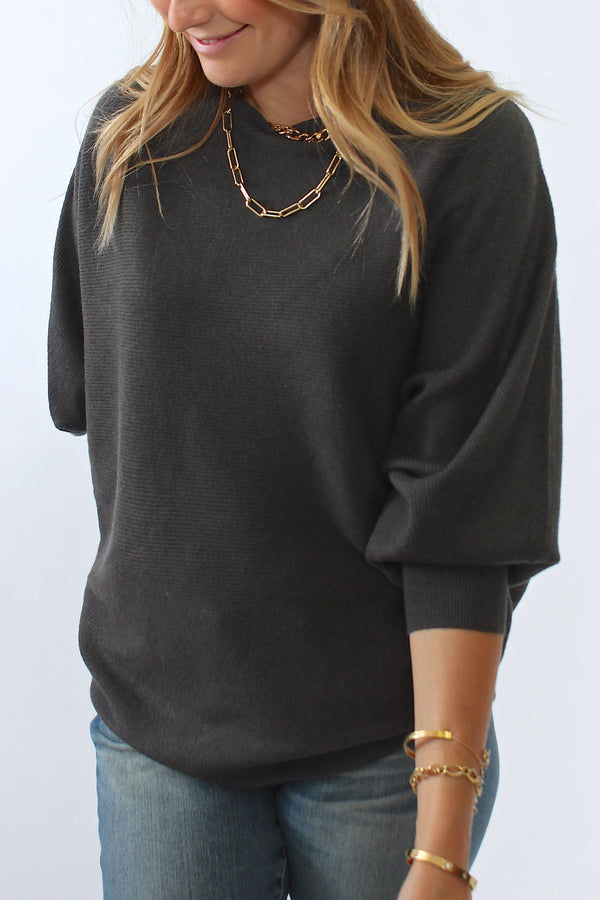Kerisma Ryu Dolman Sweater in Charcoal - Viva Diva Boutique