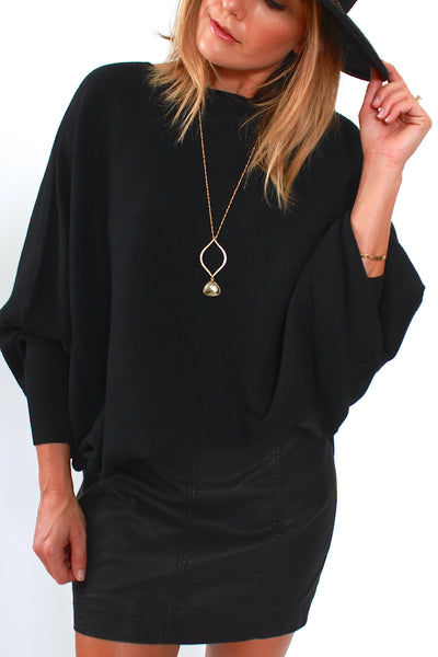 Kerisma, Ryu Dolman Sweater in Black - Viva Diva Boutique