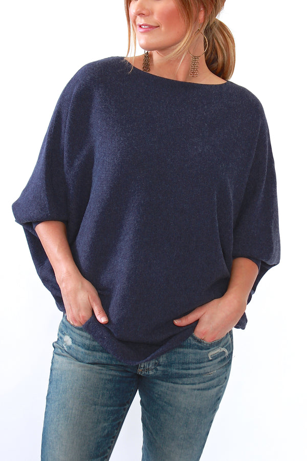 Kerisma, Ryu Dolman Sweater in Dark Jean - Viva Diva Boutique