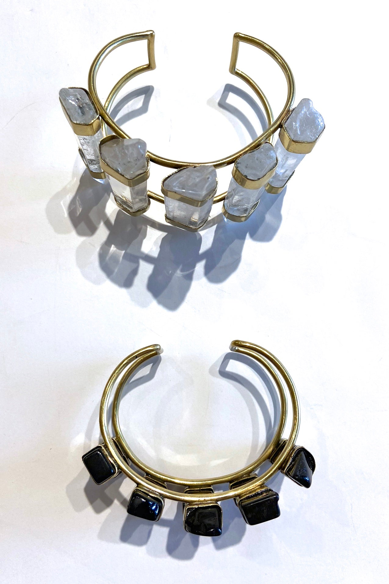Lena Bernard Five Stone Clear Crystal or Onyx Cuff - Viva Diva Boutique