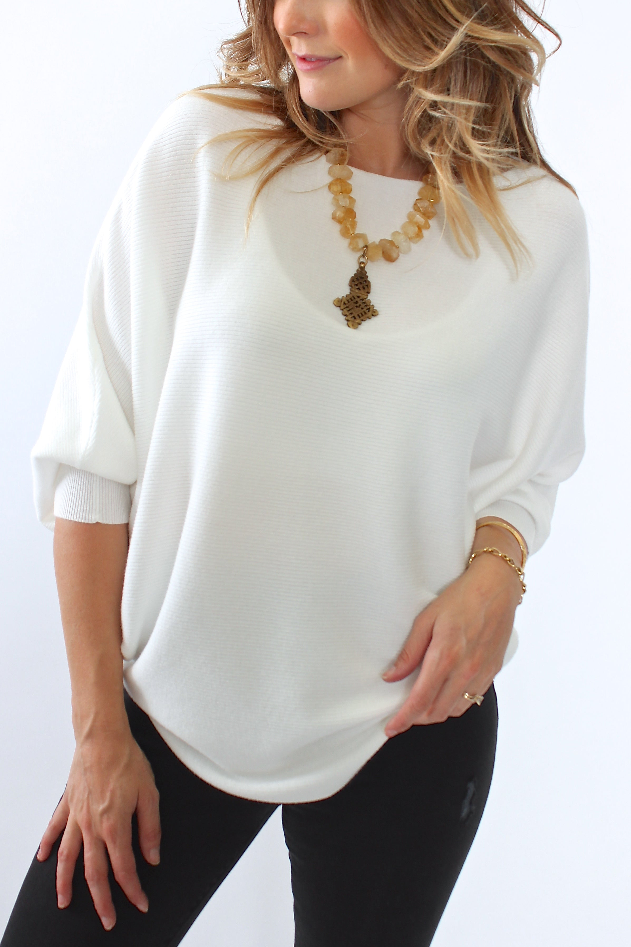 Kerisma, Ryu Dolman Sweater in Ivory - Viva Diva Boutique