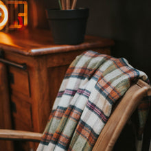 Load image into Gallery viewer, Moss Green/Cinnamon Plaid Throw