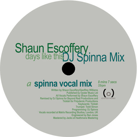 Shaun Escoffery - Days Like This (DJ Spinna Mix) EP