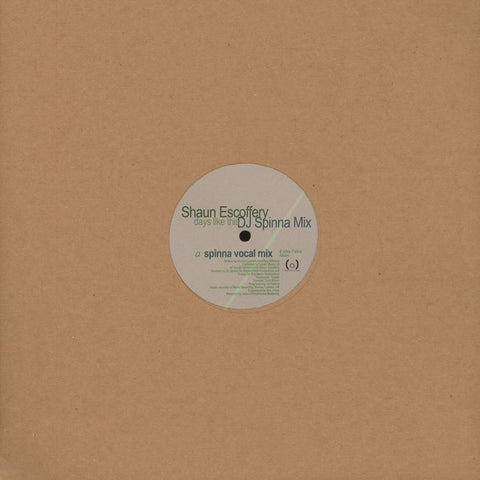 Shaun Escoffery - Days Like This ( DJ Spinna Remix ) EP