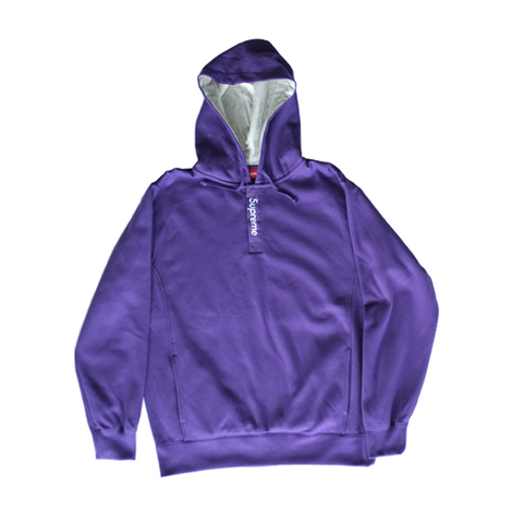 Supreme Contrast Placket Hooded Sweatshirt - Purple